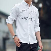 夏季帅气休闲印花修身男长袖衬衫薄款韩版男生衬衣服潮学生寸衫
