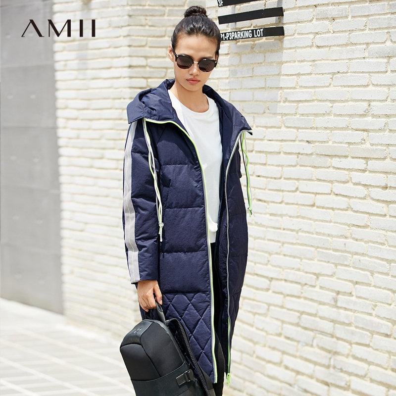 Amii[极简主义]都市风 90白鸭绒羽绒服女 2018冬季新连帽撞色外套.