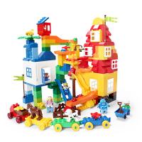 积木玩具塑料拼装3-4-5-6周岁男女孩儿童早教滑道拼插