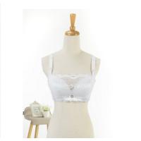 无钢圈加厚文胸超厚6cm聚拢抹胸内衣蕾丝少女防胸罩白色a
