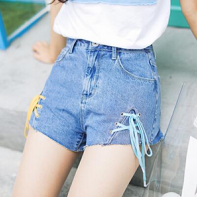 RANJU 然聚2018女装夏季新品新款绑带牛仔短裤女高腰修身显瘦弹力百搭毛边热裤潮