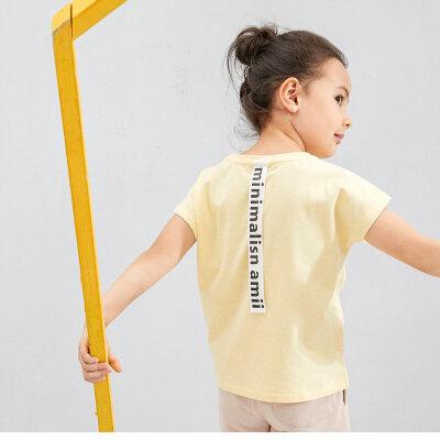 AMII.童装2017夏季新款儿童短袖T恤翻折袖口中大女童宽松休闲上衣.
