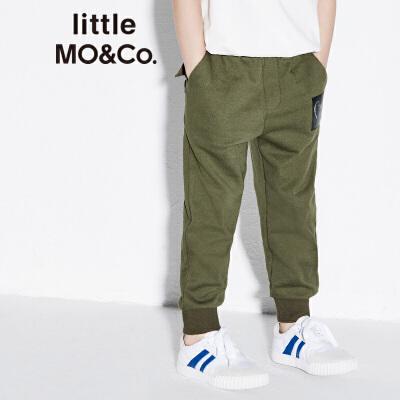 littlemoco春季新品儿童棉裤个性拼接纯棉松紧腰休闲长裤 柔软透气纯棉 个性拼接设计