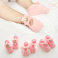 夏天款0-3-6-12个月新生婴儿地板袜子女宝宝纯棉防滑无骨鞋袜