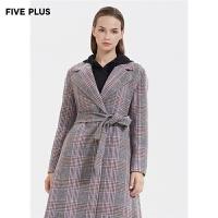 FIVE PLUS新款女装羊毛双面呢大衣女格子西装翻领外套宽松收腰