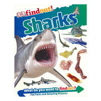 【首页抢券300-100】DK Findout Sharks DK出版社发现系列 鲨鱼 英语百科科普知识 流畅讲解 全彩