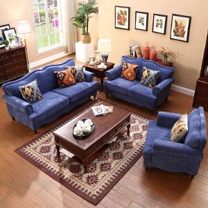 布艺沙发 美式乡村田园家用多功能地中海客厅单双三多人大小户型易清洁休闲组合沙发满额减限时抢礼品卡家具用品