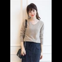 2017秋冬新款V领羊绒衫女纯色山羊绒短款套头羊绒衫打底针织衫