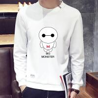 秋季男士长袖T恤韩版保暖打底衫卫衣潮秋衣学生衣服男装加绒上衣 1695 4X