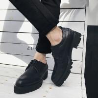 男士休闲皮鞋休闲鞋秋季男鞋韩版潮鞋 黑色