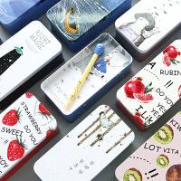 韩版彩色收纳盒桌面创意单双层马口铁杂物文具整理盒铁盒子