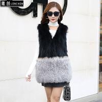 皮草马甲女中长款时尚新款显瘦韩版狐狸毛拼接滩羊羔貉子背心真毛