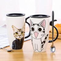 创意陶瓷杯子大容量水杯马克杯简约情侣杯带盖勺咖啡杯牛奶杯茶杯