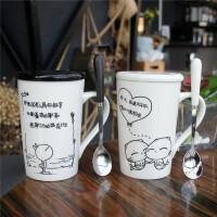 简约马克杯定做创意水杯大容量牛奶情侣办公咖啡杯陶瓷杯子带盖勺