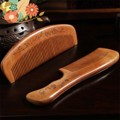 桃木梳子家用卷发梳按摩梳防静电檀木美发小梳子脱发长发头梳 i1s老料加厚 天然桃木 精致做工
