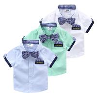宝宝短袖衬衫 2018夏装韩版新款男童童装儿童领结衬衣