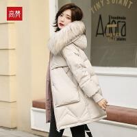 【3折价:608元/再叠加优惠券】高梵白色羽绒服女中长款2019新款时尚大毛领加厚冬季保暖外套女