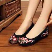 老北京布鞋女春季新款内增高红色民族风绣花鞋子圆头船鞋软底单鞋