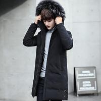 男士羽绒服中长款韩版2017新款冬季外套男装修身帅气潮流大衣冬装 黑色 M