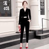 欧洲站金丝绒套装女2018秋冬新款韩版时尚西装小脚裤加绒两件套潮