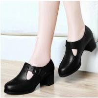 奇天伦新款春季韩版百搭皮鞋英伦风女鞋单鞋黑色高跟鞋粗跟古CW8163