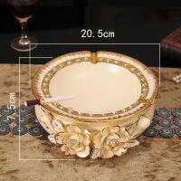 陶瓷烟灰缸客厅茶几摆件工艺品欧式奢华创意个性办公室烟缸装饰品 002011 金玫瑰烟灰缸