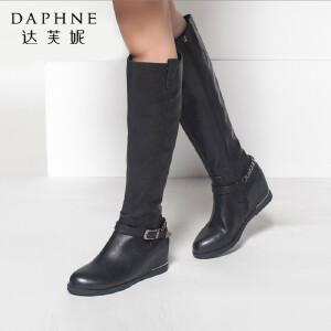 达芙妮秋冬季女靴子休闲侧拉链高筒高跟鞋皮带扣内增高过膝长筒靴