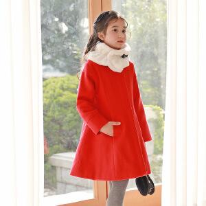 中国红可脱卸毛领围脖加棉大衣冬新呢料棉衣新年服