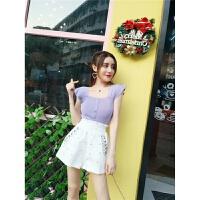 套装女夏2018韩版新款针织无袖上衣+松紧腰铆钉阔腿短裤两件套潮