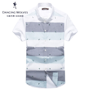 与狼共舞短袖衬衫 2017夏季新款男士条纹印花衬衣青年男5507
