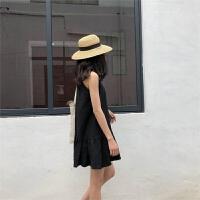无袖挂脖连衣裙女夏季百搭韩版修身字娃娃鱼尾裙小黑裙学生