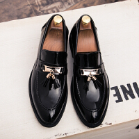 尖头皮鞋男英伦布洛克款式套脚休闲鞋青年韩版皮鞋发型师流苏男鞋