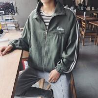 20180228013342129秋冬字母刺绣夹克男士织带运动衣服韩版学生宽松外套休闲潮流男装