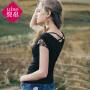 【2件8折/3件7折】裂帛女装2018夏装新款刺绣V领后交叉带上衣针织修身短袖T恤女