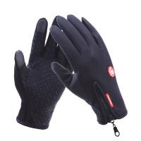 户外防水手套触屏男女防风骑行拉链运动冬季保暖抓绒登山滑雪 D-B02 经典 黑色