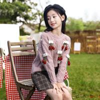 女童毛衣套头加绒冬装新款中大童韩版针织打底衫儿童洋气