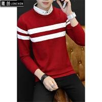 保暖升级 男士加绒加厚衬衫领毛衣韩版修身撞色针织衫学生打底衫