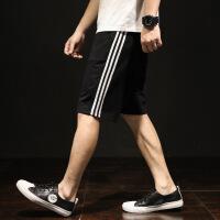 夏季运动短裤男士宽松条纹五分裤大码5分休闲裤子潮夏天2018新款
