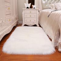 北欧圆形地毯电脑椅子地垫仿羊毛毯化妆台吊篮卧室长毛绒拍照ins 自然白 白色长方形圆角