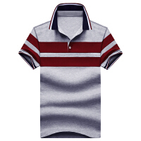 夏季男士短袖t恤小翻领条纹polo衫修身潮流半袖衬衫领体恤