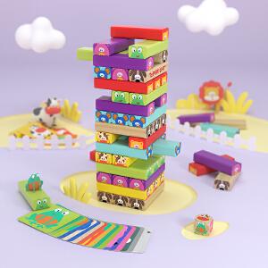 特宝儿 动物积木木质叠叠高叠叠乐桌游早教益智儿童玩具男孩女孩