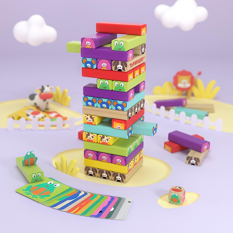 【跨店2件5折】特宝儿 动物积木木质叠叠高叠叠乐桌游早教益智儿童玩具男孩女孩跨店1件6折2件5折