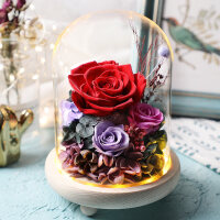 永生花礼盒玻璃罩蓝色妖姬玫瑰花生日情人节礼物送女朋友爱人闺蜜