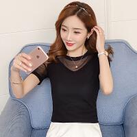 圆领蕾丝打底衫女短袖夏装新款韩范修身上衣纯色大码网纱T恤小衫