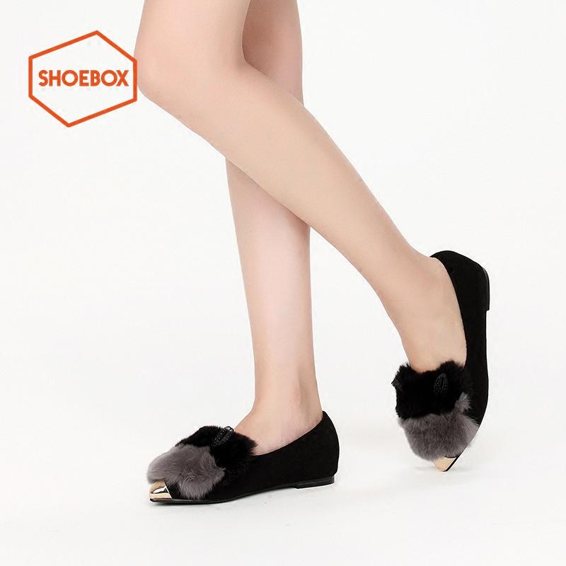 shoebox鞋柜冬款PINKII加绒内里尖头平底鞋可爱兔毛冬单