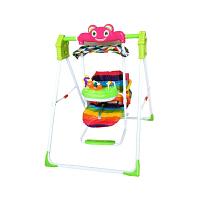 折叠室内儿童餐椅秋千万宝乐婴儿摇椅宝宝家用户外荡秋千架 绿色加棉垫 音乐盒+彩虹棉垫