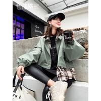 七格格休闲外套女2019新款秋季学生韩版宽松薄款百搭假两件短上衣