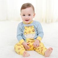 宝宝纯棉内衣套装婴儿春秋款长颈鹿贴布长袖睡衣儿童两件套