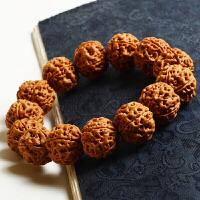 尼泊尔大金刚菩提子手串男5五瓣天然红皮原籽爆肉蜂窝双龙纹佛珠 精挑
