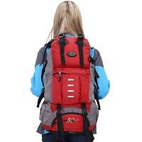 七夕礼物大容量双肩包男韩版多功能运动背包户外旅行包女休闲登山包50L 红色